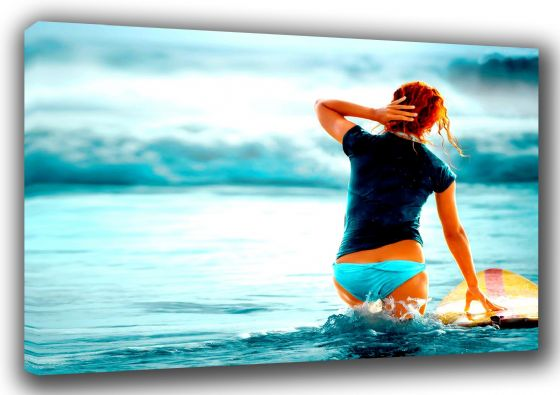 Surfing Girl in Sea with Surfboard. Sports Canvas. Sizes: A3/A2/A1 (0078)